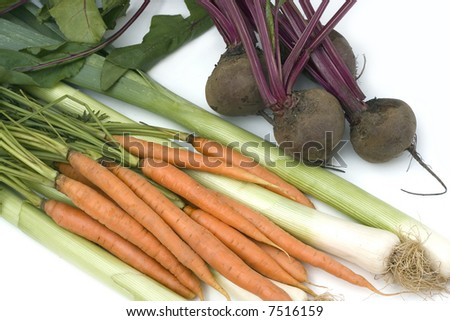 Carrots,  beetroots and leek