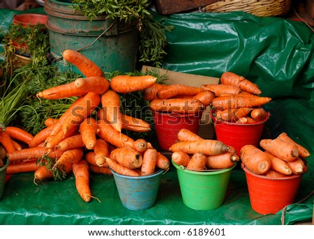 Carrots for sale in a Market in Chiapas, Mexico - stock photo