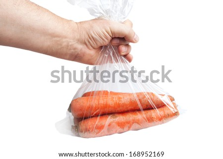 Carrots in plastic bag , - stock photo