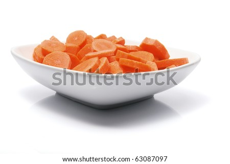 Carrots on Plate with White Background