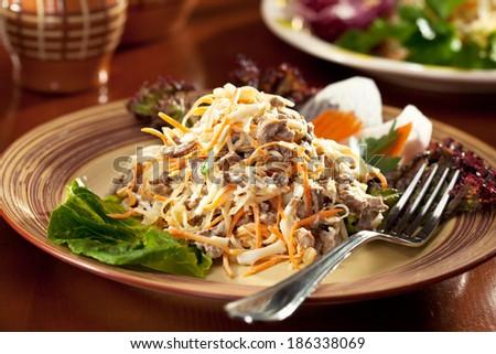 Carrots, Radish and Meat Salad - stock photo