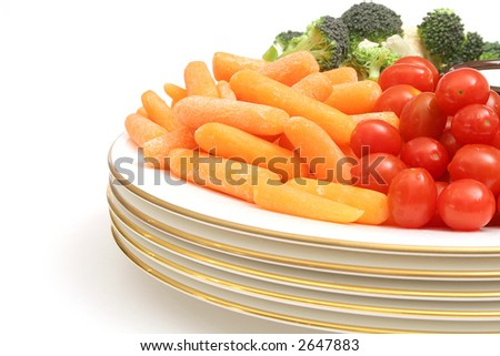carrots with assorted vegetables - stock photo
