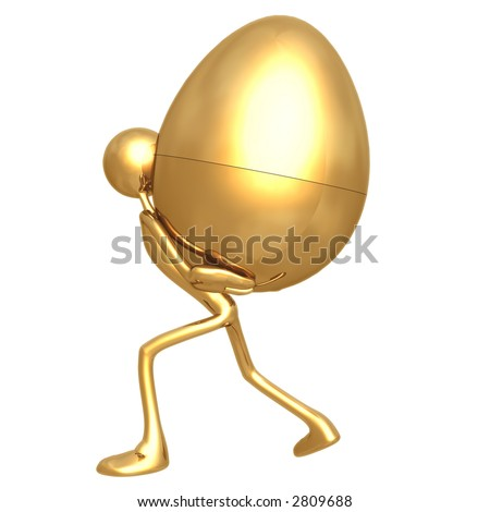 Carry Gold Nest Egg Burden - stock photo