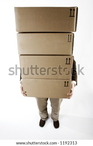 Carrying heavy packages - stock photo