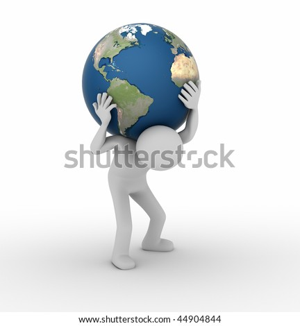 Carrying the World like Atlas - stock photo