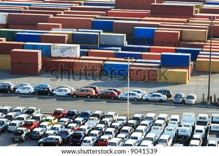 Cars and containers entering the port on the island of Barbados - stock photo
