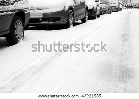 Cars and snow - stock photo