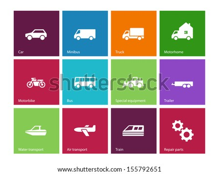Cars and Transport icons on color background. See also vector version. - stock photo