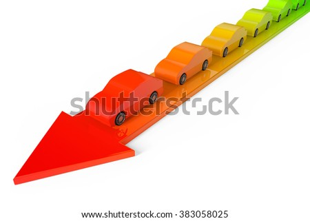 Cars from Green to Red Colours over Arrow on a white background
