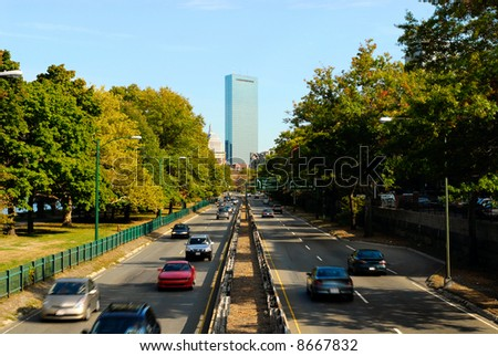 Cars heading in and out of downtown Boston - stock photo