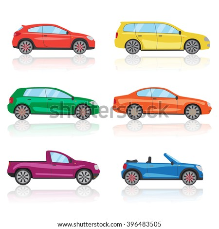 Cars icons set. 6 different colorful 3d sports car icon. Car graphic illustration - stock photo