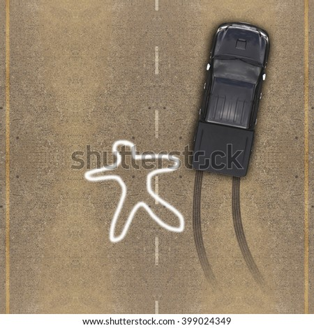Cars in an accident, Aerial view over the road - stock photo
