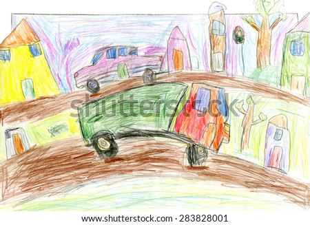 Cars in the city, children's hand painted picture, pencil drawing - stock photo