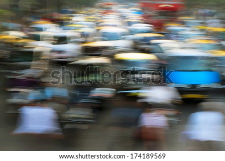 Cars in traffic jam in Mumbai during rush hour. Motion blur. Filtered image - stock photo