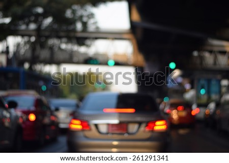 cars in traffic jam on Bangkok road blurred backgrounds