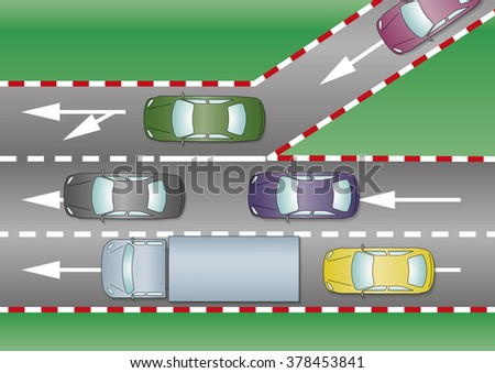 Cars join the motorway through the freeway entrance. Traffic concept - stock photo