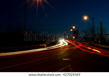 cars lights at night