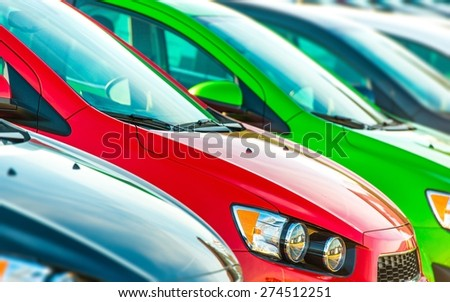 Cars Marketplace. Car Dealer Colorful Cars Stock.  - stock photo