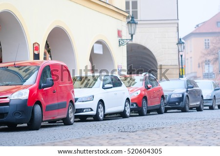 Cars on a parking in Prague, Czechia