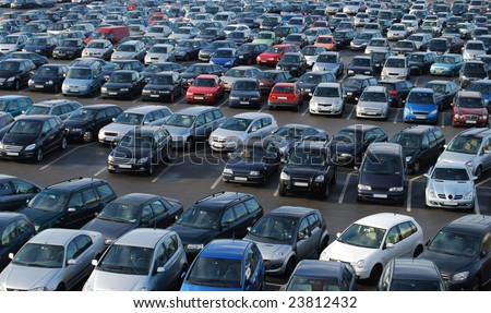Cars on a parking lot in Germany - stock photo