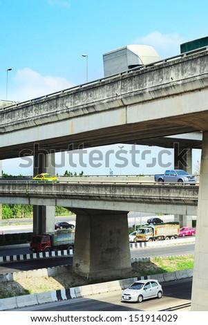 Cars on a urban flyover in Bangkok, Thailand - stock photo