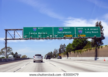 Cars on road in Los Angeles - stock photo