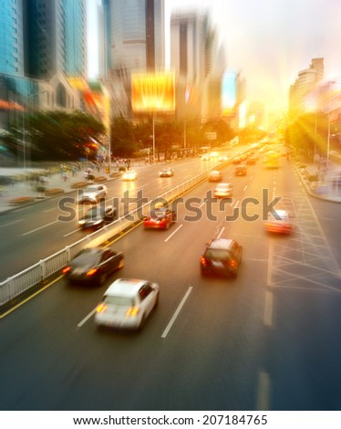 Cars on Shenzhen Highway at Sunset