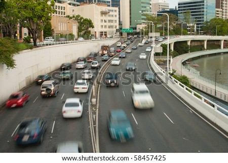 cars on the riverside expressway - stock photo