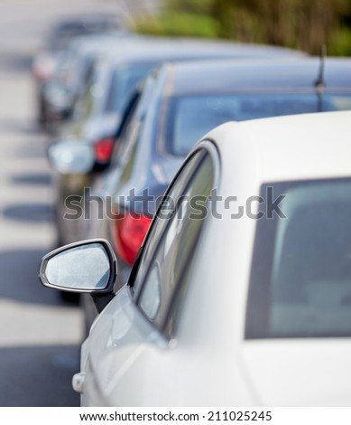 Cars on the road. Traffic jam. - stock photo
