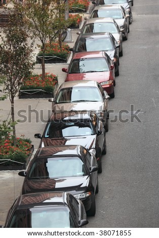 Cars parked on a New York City street - stock photo