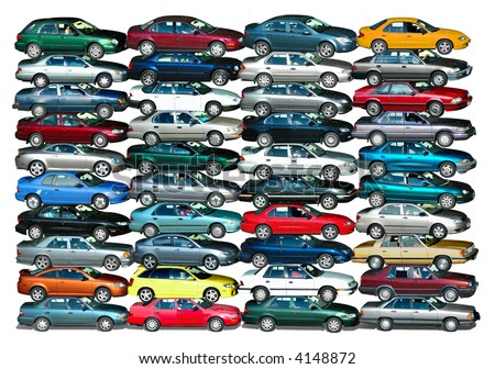 Cars piled up in white background - stock photo