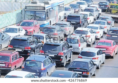 Cars stand in traffic jam in the center of Moscow, Russia - stock photo