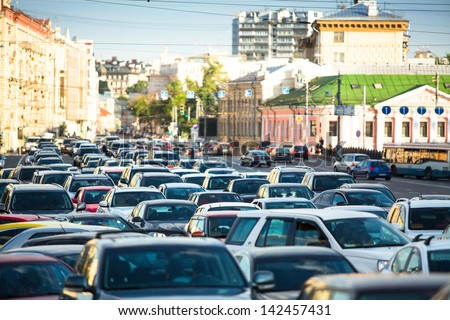 Cars stands in traffic jam in Moscow. - stock photo