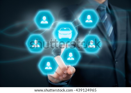Carsharing service or car rental concept. Businessman click on button with car icon and group of people (customers).