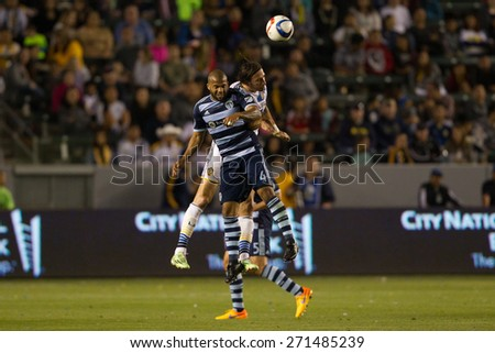 CARSON, CA. - APR 18: Alan Gordon & Kevin Ellis (L) in action during the L.A. Galaxy game against Sporting Kansas City on April 18, 2015 at the StubHub Center in Carson, California. - stock photo