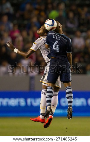 CARSON, CA. - APR 18: Bradford Jamieson & Kevin Ellis in action during the L.A. Galaxy game against Sporting Kansas City on April 18, 2015 at the StubHub Center in Carson, California. - stock photo