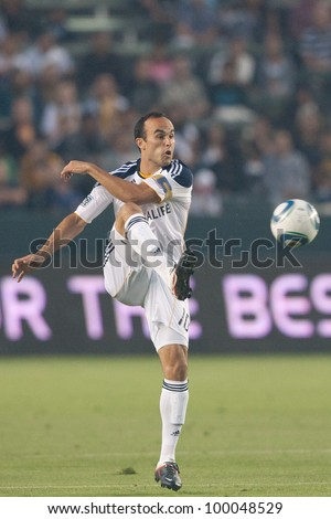 CARSON, CA. - AUG 20: Los Angeles Galaxy F Landon Donovan #10 during the MLS game between the Earthquakes & the Los Angeles Galaxy on Aug 20 2011 at the Home Depot Center.