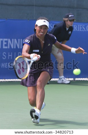CARSON, CA - AUG. 4: WTA player, Kimiko Date Krumm from Japan, competing at the L.A. Women's Tennis Championships August 4, 2009 in Carson, California