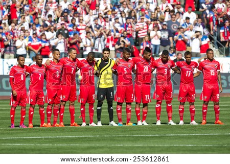 CARSON, CA. - FEB 2 : Panama starting eleven during the USA friendly against Panama on February 2nd 2015 at the StubHub Center in Carson, California. - stock photo