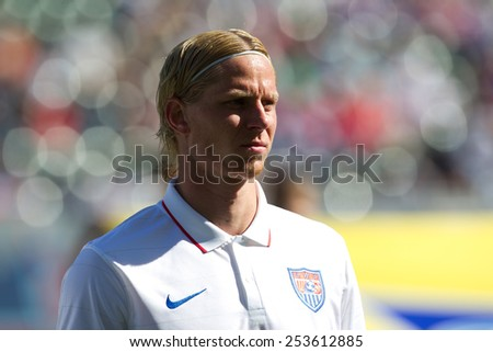 CARSON, CA. - FEB 2 : United States midfielder Brek Shea during the USA friendly against Panama on February 2nd 2015 at the StubHub Center in Carson, California. - stock photo