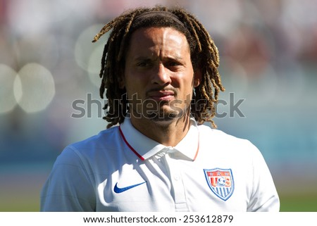 CARSON, CA. - FEB 2 : United States midfielder Jermaine Jones during the USA friendly against Panama on February 2nd 2015 at the StubHub Center in Carson, California. - stock photo