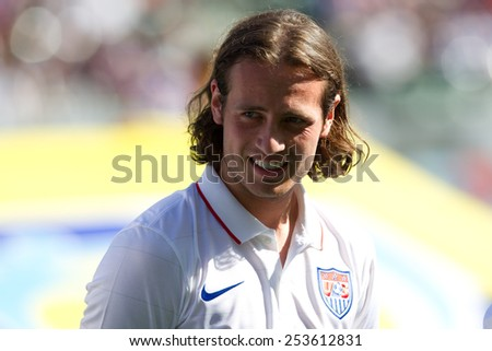 CARSON, CA. - FEB 2 : United States midfielder Mix Diskerud during the USA friendly against Panama on February 2nd 2015 at the StubHub Center in Carson, California. - stock photo