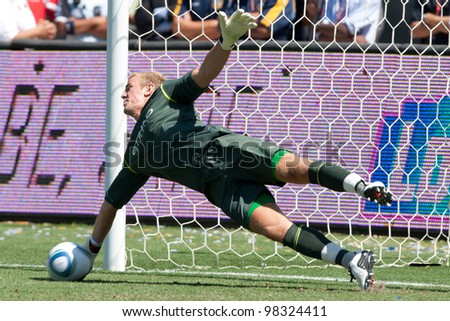CARSON, CA. - July 24: Manchester City FC G Joe Hart #25 during the World Football Challenge game on July 24 2011 at the Home Depot Center in carson, Ca. - stock photo