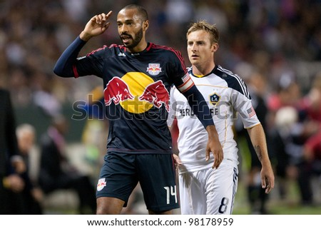 CARSON, CA. - MAY 7: New York Red Bulls F Thierry Henry #14 (L) & Los Angeles Galaxy M Chris Birchall #8 (R) during the MLS game on May 7 2011 at the Home Depot Center in Carson, CA.