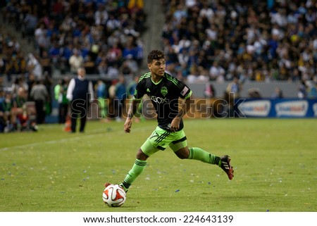 CARSON, CA - OCT 19: DeAndre Yedlin in action during the Los Angeles Galaxy MLS game against the Seattle Sounders on October 19th 2014 at the StubHub Center. - stock photo