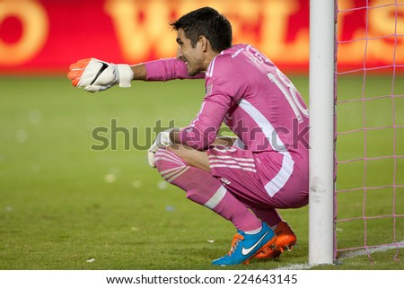CARSON, CA - OCT 19: Jaime Penedo during the Los Angeles Galaxy MLS game against the Seattle Sounders on October 19th 2014 at the StubHub Center. - stock photo