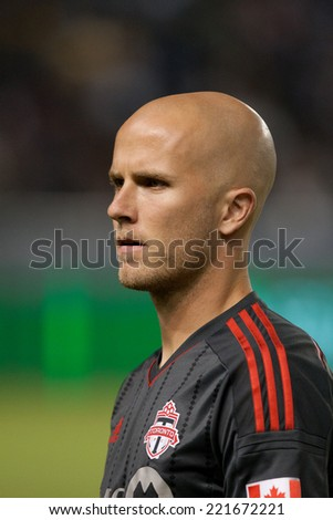 CARSON, CA - OCT 4: Toronto FC midfielder Michael Bradley during the Los Angeles Galaxy MLS game against Toronto FC on Oct 4th, 2014 at the StubHub Center. - stock photo