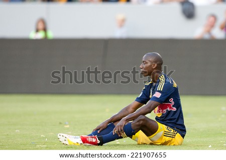 CARSON, CA - SEPT 28:  Bradley Wright-Phillips during the Los Angeles Galaxy MLS game against the New York Red Bulls on Sept 28th, 2014 at the StubHub Center. - stock photo