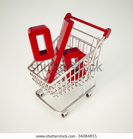 Cart and Percentage. Concept of discount. Shopping cart with sale. Illustration. Shopping cart and red percentage discount, isolated on white background. - stock photo
