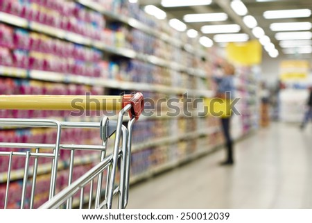 Cart buyer in supermarket close-up - stock photo